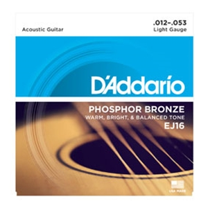 D'addario EJ16 Light Gauge Phospher Bronze Guitar Strings, .12-.53