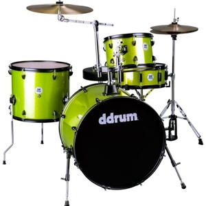 Ddrum D2Rock 4-Piece Drum Set with Cymbals and Black Hardware in a Lime Sparkle Finish