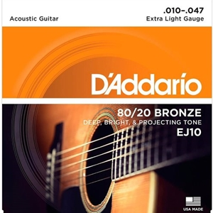 D'addario EJ10 Extra Light Gauge 80/20 Bronze Guitar Strings