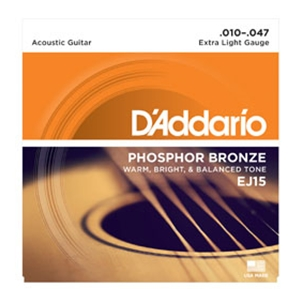D'addario EJ15 Extra Light Gauge Phospher Bronze Guitar Strings, .10-.47