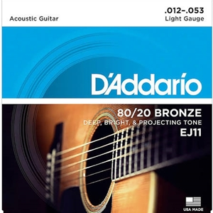 D'addario EJ11 Light Gauge(12-53) 80/20 Bronze Guitar Strings