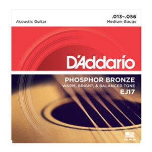 D'addario EJ17 Medium Gauge Phospher Bronze Guitar Strings,.13-.56