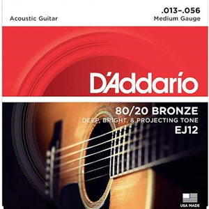 D'addario EJ12 Medium Gauge (13-56) 80/20 Bronze Guitar Strings