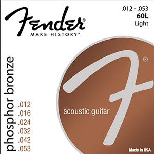 Fender 60L Light Gauge Phospher Bronze Guitar Strings, 12-53