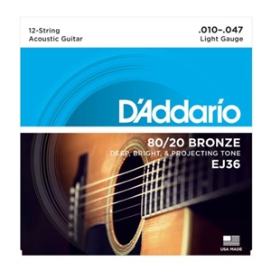 D'addario EJ36 12 String Light Gauge 80/20 Bronze Guitar Strings