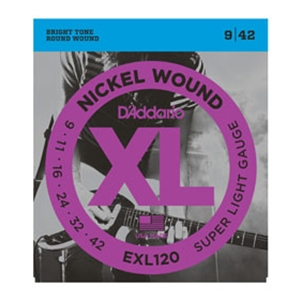 D'addario EXL120 Super Light Gauge Nickel Wound Guitar Strings 9-42