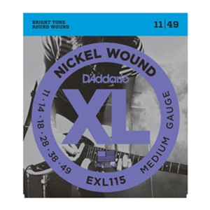 D'addario EXL115 Medium Gauge Nickel Wound Guitar Strings 11-49