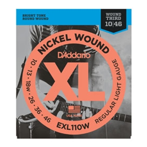 D'addario EXL110W Regular Light Gauge  w/ Wound 3rd Nickel Guitar Strings 10-46