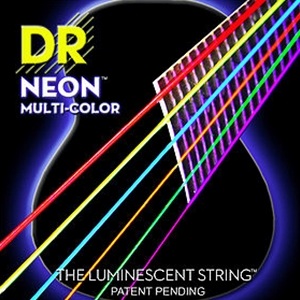 DR Neon™  Multi Colored Medium Acoustic Guitar Strings, .12-.54