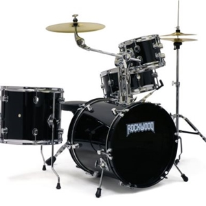 Rockwood 4 Piece Complete Junior Drumset with Cymbal and Hardware in Black