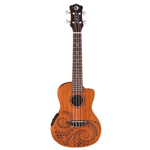 Luna Tattoo Mahogany Concert Ukulele with Preamp and Gig bag