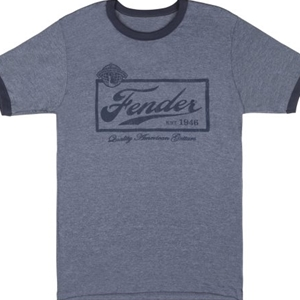 Fender® Beer Label Mens Shirt, Blue- X-Large