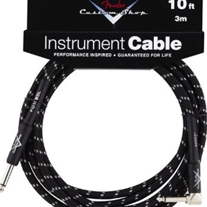 Fender® Custom Shop 10FT Insturment Cable, Black - Straight to Angle