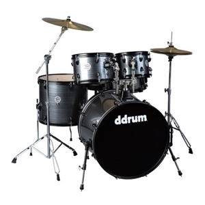 DDrum D2 Plater Series 5 Piece Drumset with Cymbals in Grey Pinstripe