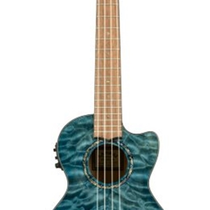 Lanikai Blue Quilted Maple Electric Tenor Ukulele with Case