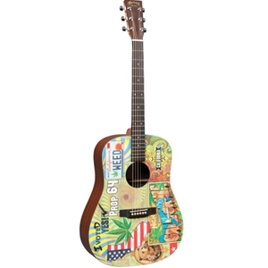Martin DX420 Acoustic Electric Guitar with Printed Illustration by Robert Goetzl