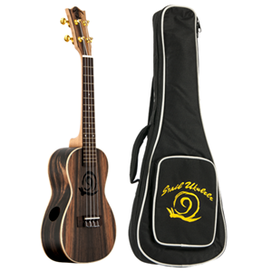 Amahi Snail Concert Ebony Ukulele with Gig Bag