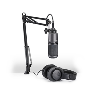 Audio Technica AT2020 Cardiod Condenser Microphone with Headphones and Boom Attachment