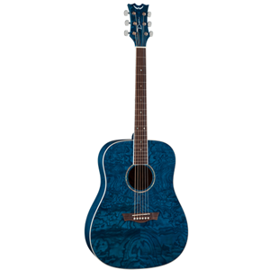 Dean Acoustic Dreadnought Guitar, Quilted Ash in Trans Blue