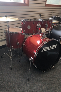 Ddrum 5 Piece Complete Drum Set w/ hardware and Cymbals Red Sparkle