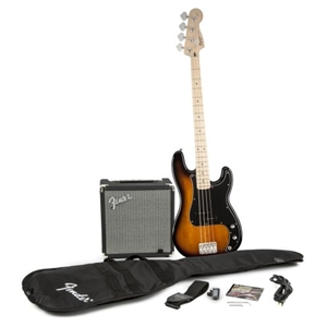 Fender® Squier® Precision Bass Pack with Rumble 15 Bass Amplifier in Brown Sunburst Finish